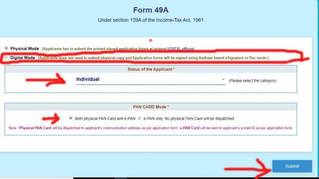 Online csc uti pan card correction